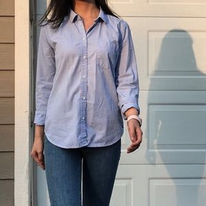 Blue white stripped button down dress shirt